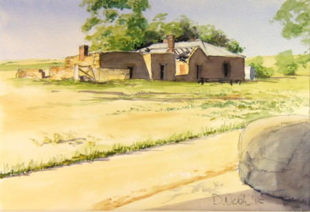 The family left here in the fifties.   I painted this from the shade of the shearing shed, hence the wool bale in the foreground.