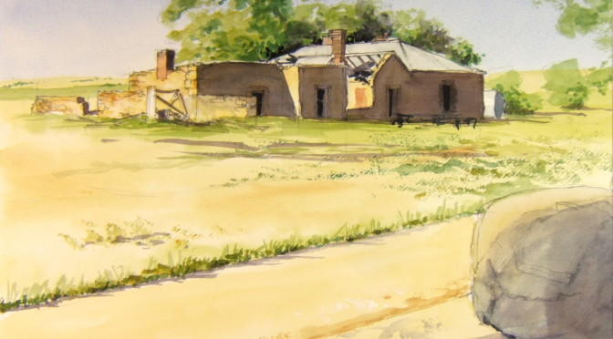 The old Simpson place.  The family left here in the fifties.   I painted this from the shade of the shearing shed, hence the wool bale in the foreground.